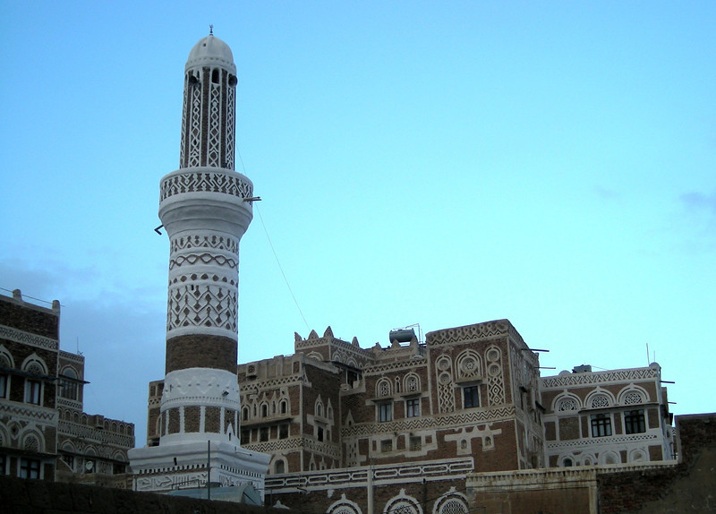 a mosques' minarette in old Sana'a