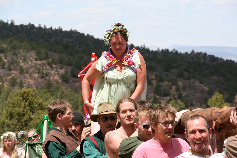 The May Queen boards the maypole for a tour