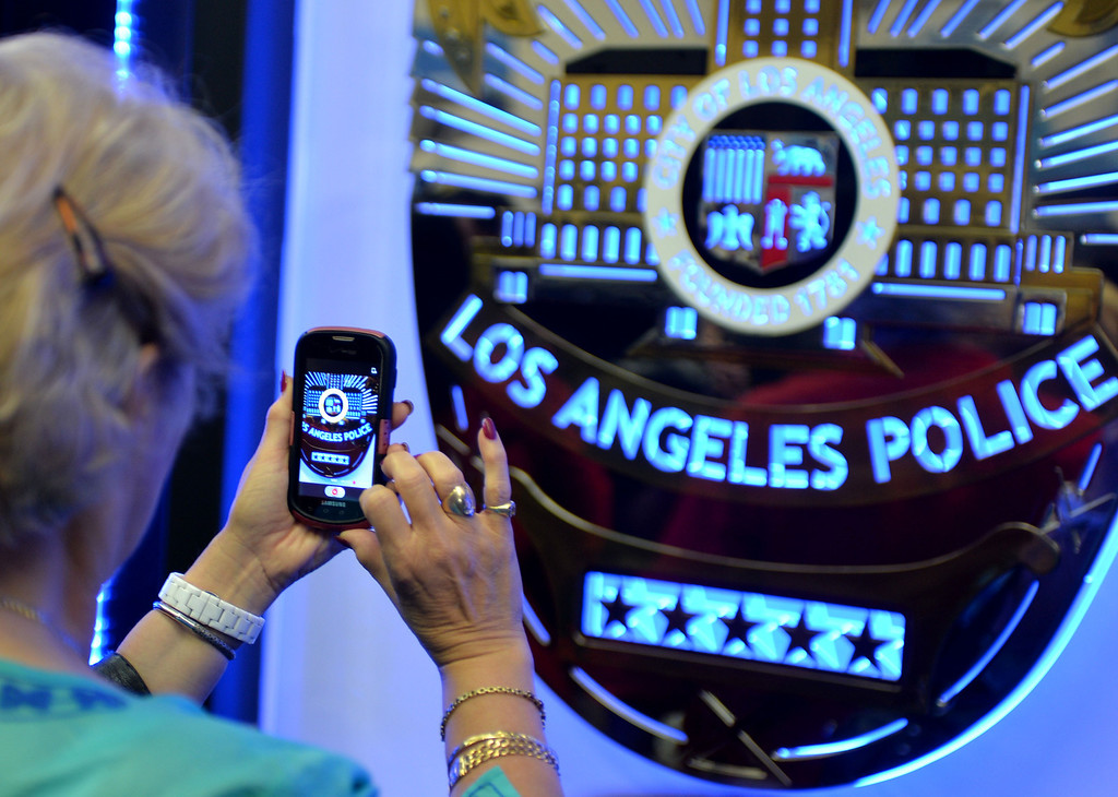 . The Los Angeles Police Protective League and the Eagle & Badge Foundation unveiled new End of Watch Memorial Wall featuring the names of the 206 officers who have died in the line of duty. The 60 ft. wide and 9 ft tall wall was made at Commemorative Badge Company in Gardena where it was unveiled.        Photo by Robert Casillas / Daily Breeze