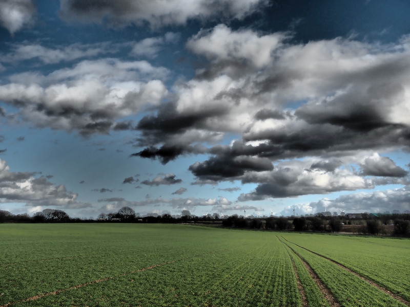 Rural landscape with clouds