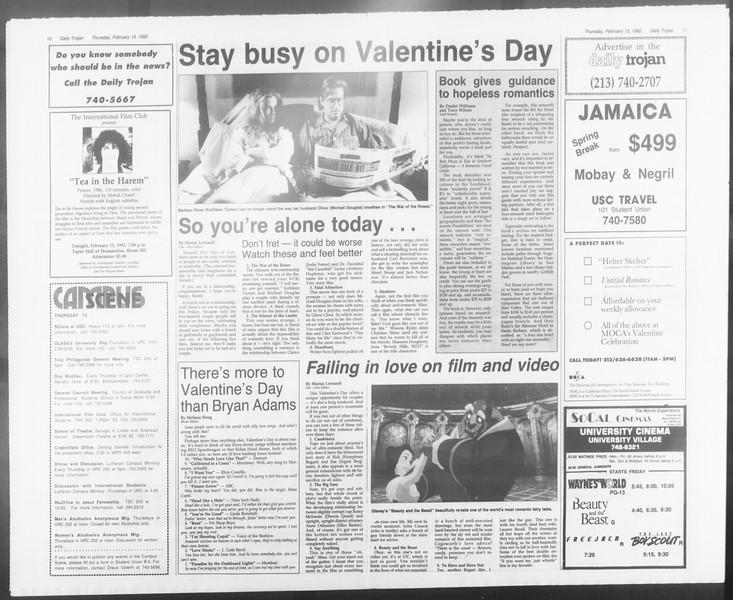 Daily Trojan, Vol. 117, No. 21, February 13, 1992