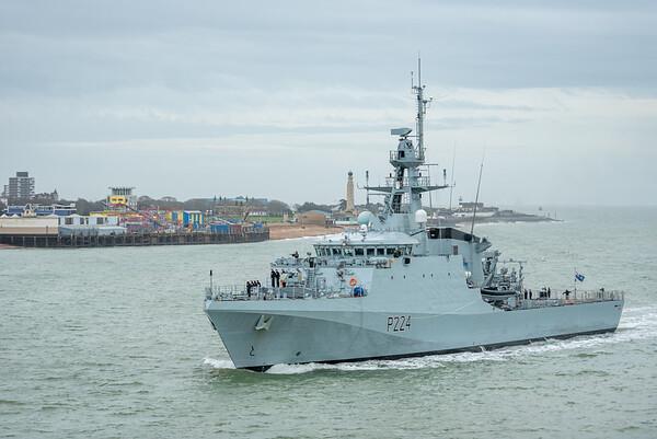 HMS Trent arriving HMNB Portsmouth