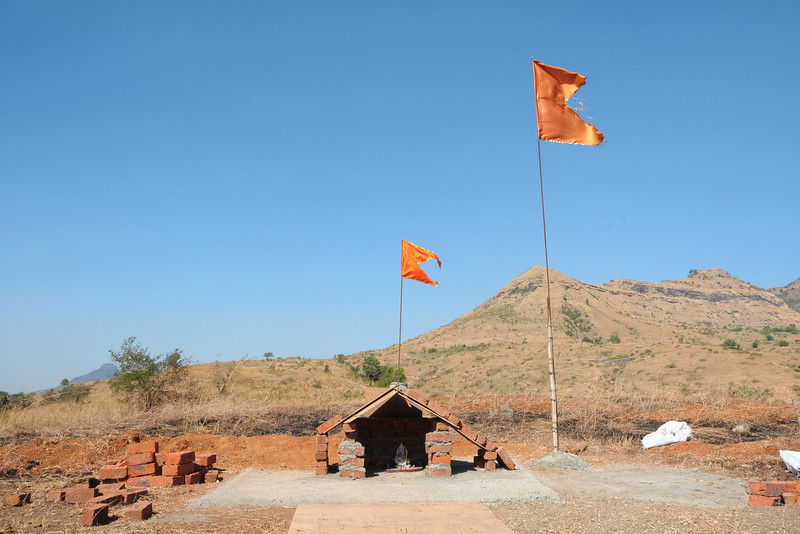Small temple made by children where the Ganesh Temple shall be constructed at Chinmaya Vibhooti, Kolwan, Maharashtra, India.