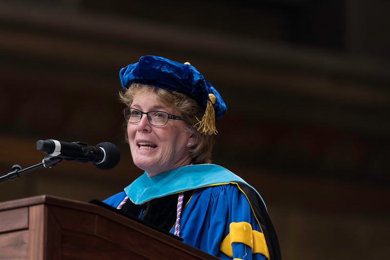 Kathy H. Rideout delivers the dean's address. // University of Rochester School of Nursing Commencement, Kodak Hall at Eastman Theatre May 17, 2019.  // photo by J. Adam Fenster / University of Rochester