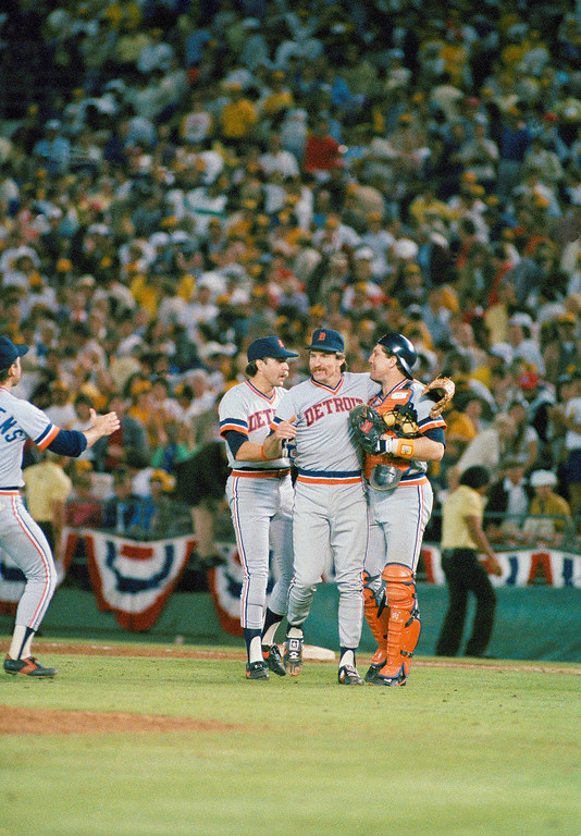 . Detroit Tigers pitcher Jack Morris is congratulated after a 3-2 victory over San Diego Padres in game one of the World Series in San Diego, Calif., Tuesday, Oct. 9, 1984.  (AP Photo)