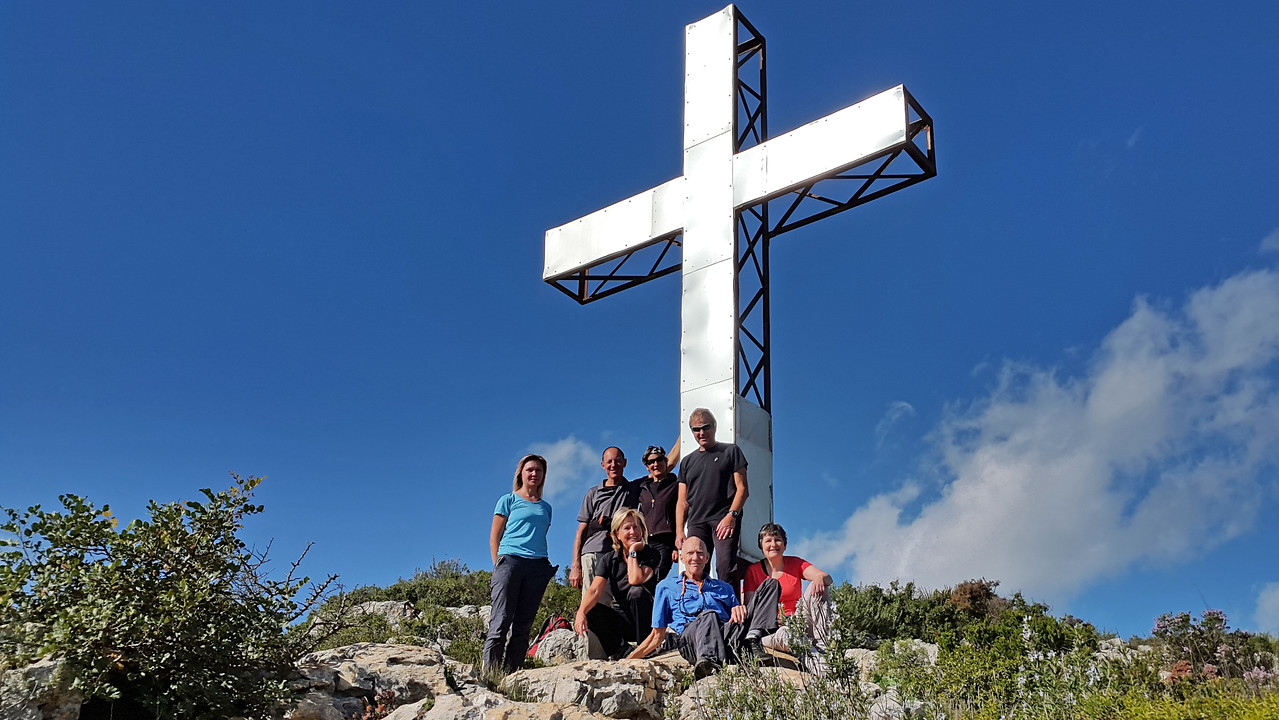 Alt de Les Creus summit 540 metres with Olga, Rolf, Heidi, Ingrid, Dieter, Vic and Ellen