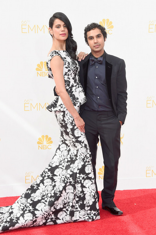 . Neha Kapur (L) and actor Kunal Nayyar attend the 66th Annual Primetime Emmy Awards held at Nokia Theatre L.A. Live on August 25, 2014 in Los Angeles, California.  (Photo by Frazer Harrison/Getty Images)