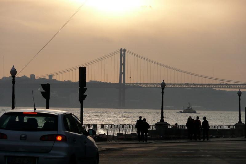 Sunset on the Rio Tejo. Lisbon