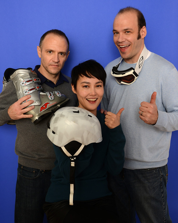 . Filmmaker David Zellner, actress Rinko Kikuchi, and producer Nathan Zellner pose for a portrait during the 2014 Sundance Film Festival at the Getty Images Portrait Studio at the Village At The Lift on January 19, 2014 in Park City, Utah. Winter sports gear courtesy of Destination Sports & Adventures, Park City.  (Photo by Larry Busacca/Getty Images)