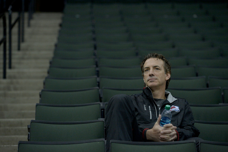 . Colorado Avalanche Joe Sakic Executive Vice President of hockey operations watches practice April 23, 2014 at Xcel Energy Center. (Photo by John Leyba/The Denver Post)