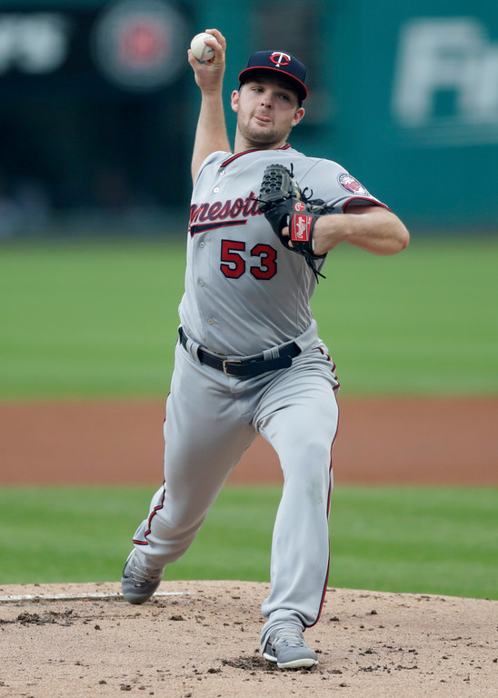 . Minnesota Twins starting pitcher Kohl Stewart delivers in the first inning of the team\'s baseball game against the Cleveland Indians, Wednesday, Aug. 29, 2018, in Cleveland. (AP Photo/Tony Dejak)