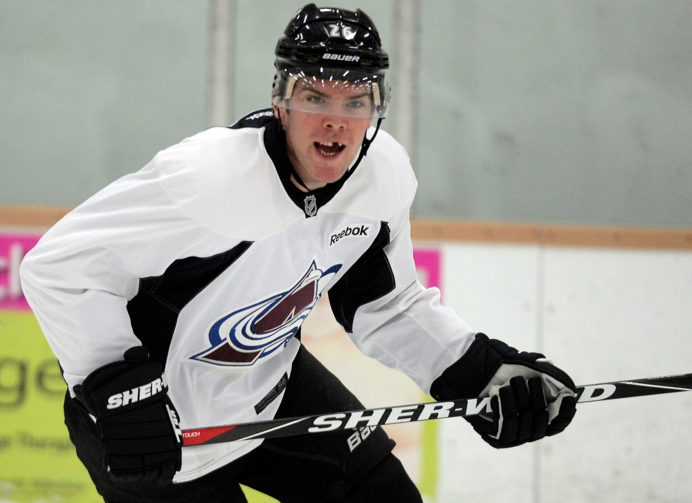 . Colorado Avalanche C Paul Stastny (26) yells for the puck  during practice Wednesday, January 16, 2013 at Family Sports Center. John Leyba, The Denver Post