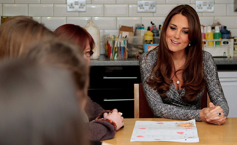 . Britain\'s Catherine, Duchess of Cambridge visits the art therapy group at Hope House charity in south London on February 19, 2013. The Duchess visited Hope House, an all-female rehabilitation centre which is is one of the projects run by her patronage, Action on Addiction. MARY TURNERMARY TURNER/AFP/Getty Images