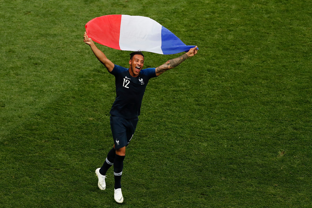 . France\'s Corentin Tolisso celebrates at the end of the final match between France and Croatia at the 2018 soccer World Cup in the Luzhniki Stadium in Moscow, Russia, Sunday, July 15, 2018. (AP Photo/Rebecca Blackwell)