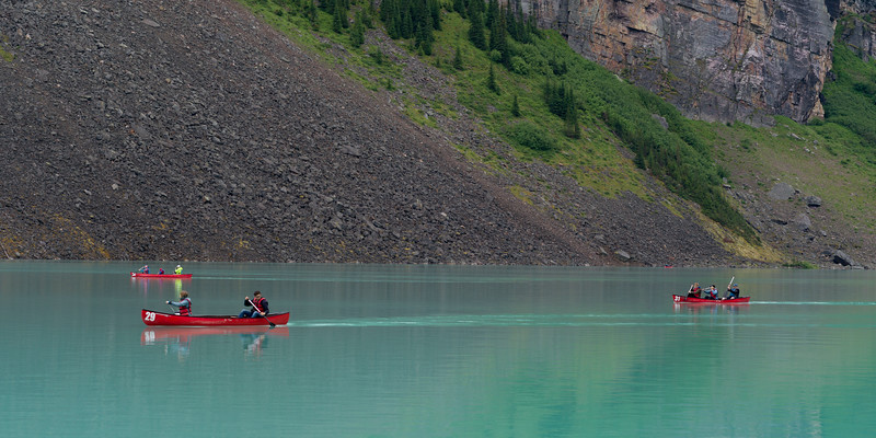 Tourists boating in Lake Louise, Improvement District 9, Banff National Park, Jasper, Alberta, Canada