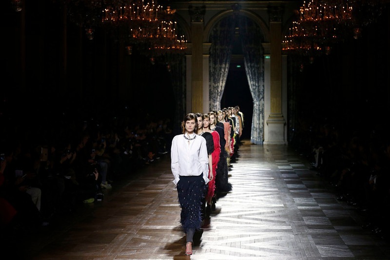 . Models present creations by Belgian designer Dries Van Noten as part of his Fall-Winter 2013/2014 women\'s ready-to-wear fashion show during Paris fashion week February 27, 2013. REUTERS/Benoit Tessier