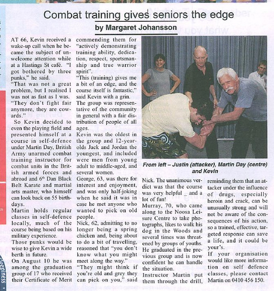 Sunshine Coast Seniors - September 2010 - Combat training gives seniors the edge.