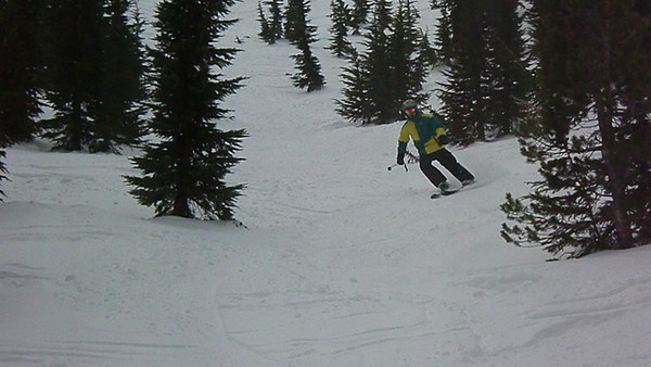 Video of Aaron skiing through the trees on Kirkwood's backside, below The Wave off Chair 4.  Video by Harrison Turner.