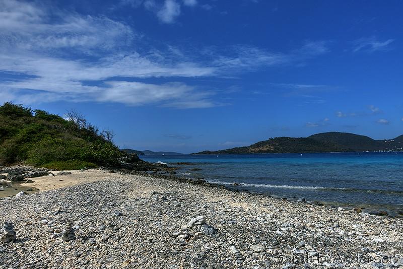 The beach on Waterlemon Cay.