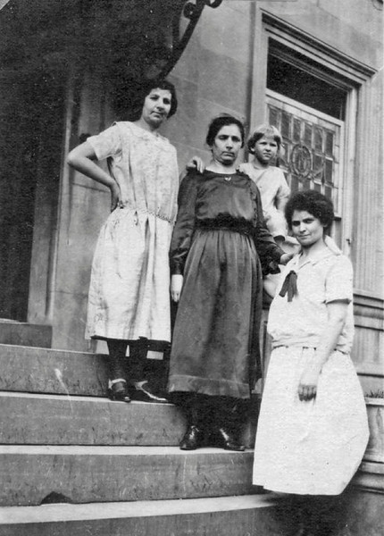 In descending order are three of the four Friedland sisters: Fannie (b. 1885), Rebecca Friedland Chisen (b. 1881, Marian's grandmother), and Kate (b. 1884, Alix Perry's grandmother). The child is Rebecca's daughter, Margaret Chisen.