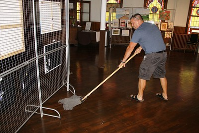 Volunteer Shanon Rega Mopping the Floor, Community Arts Center, Tamaqua (7-25-2014)