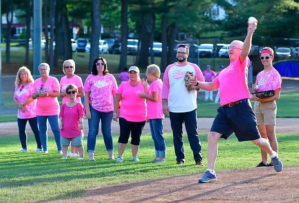 8/1/2019 Mike Orazzi | Staff Dr. James Sayre, Medical Director of the Beekley Center for Breast Health & Wellness, throws out one of the first pitches during Pink Night at the Bristol Blues at Muzzy Field on Thursday evening.