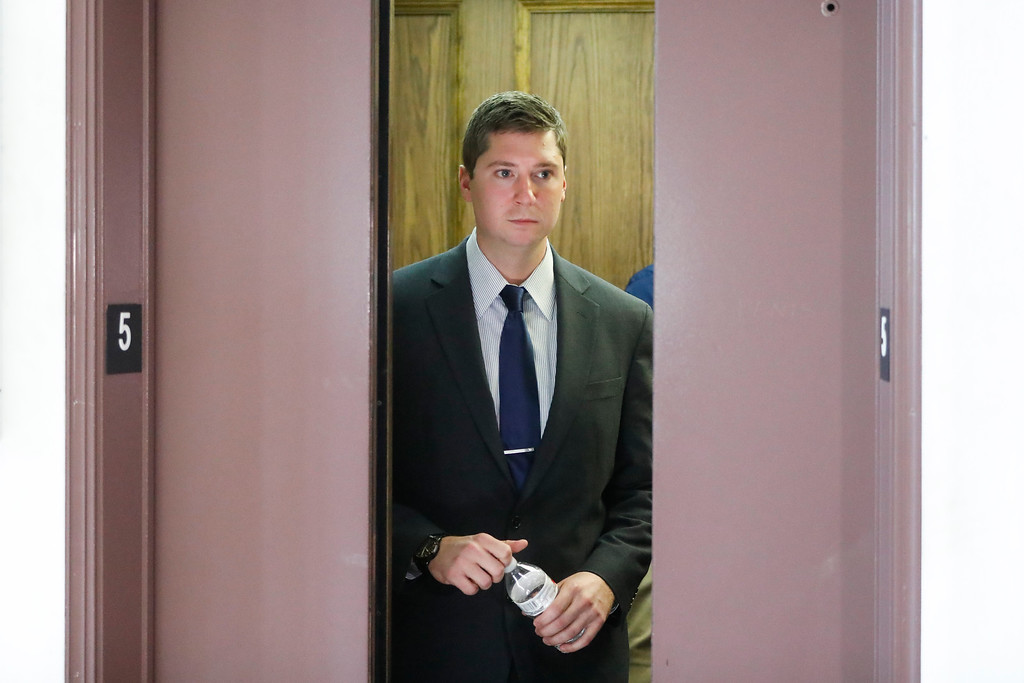 . Ray Tensing arrives at court on the fourth day of jury deliberations in his murder trial, Saturday, Nov. 12, 2016, in Cincinnati.  Judge Megan Shanahan has declared a mistrial after the jury said it was deadlocked in the case.   Tensing, the former University of Cincinnati police officer is charged with murdering Sam DuBose while on duty during a routine traffic stop on July 19, 2015. (AP Photo/John Minchillo)