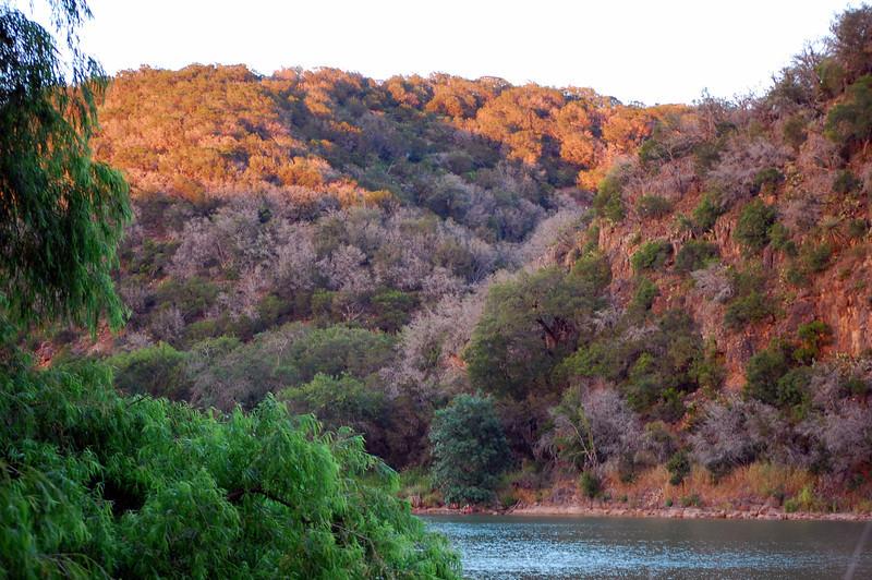 Upriver at sunset