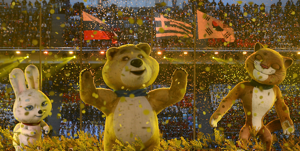 . The Rabbit, Polar Bear and Leopard Olympic mascots perform in the Closing Ceremony of the Sochi Winter Olympics at the Fisht Olympic Stadium on February 23, 2014. The 2018 Winter Olympic games are scheduled to take place in Pyeongchang, South Korea.     FABRICE COFFRINI/AFP/Getty Images
