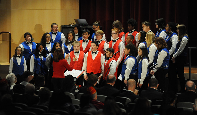 The Phillipsburg Middle School Choir, director by Linda Pettinelli, performs. Phillipsburg area veterans Sunday, Nov. 11, 2018  were honored during the 21st annual William L. Nixon tribute. Hundreds attended the event at Phillipsburg High School in Lopatcong Township, in which the U.S. Department of Veterans Affairs has honored as a regional site for the observance of the commemoration.