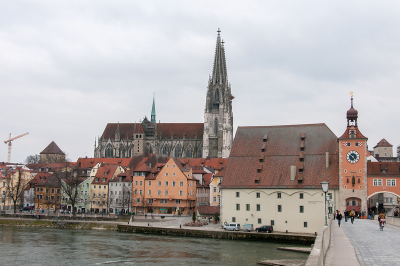 View of Regensburg Cathedral from stone bridge in Regensburg, Germany