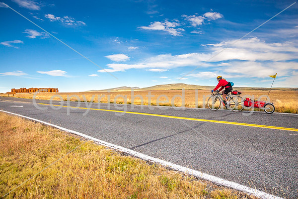 New Mexico - Cyclist at Fort Union National Monument