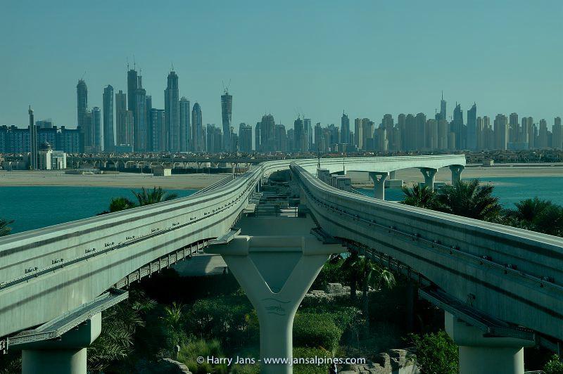 view toward Dubai from Jumeirah Palm Island
