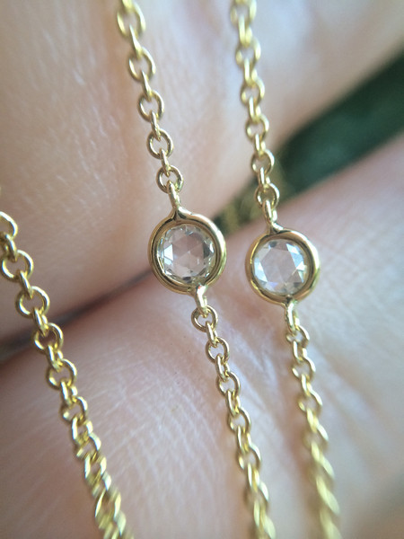 1.00tcw Rose Cut DBTY Necklace, 18kt Yellow Gold