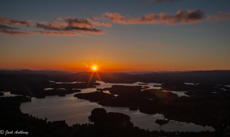 Sunset view over Lake Chutuge from Bell Mountain
