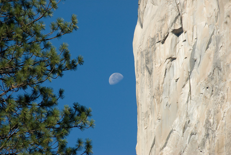 Moon over Yosemite National Park in California, USA