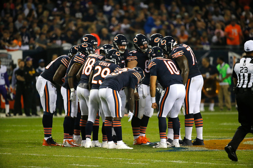 . Chicago Bears quarterback Mitchell Trubisky (10) huddles with his offense before a play against the Minnesota Vikings during the first half of an NFL football game, Monday, Oct. 9, 2017, in Chicago. (AP Photo/Charles Rex Arbogast)