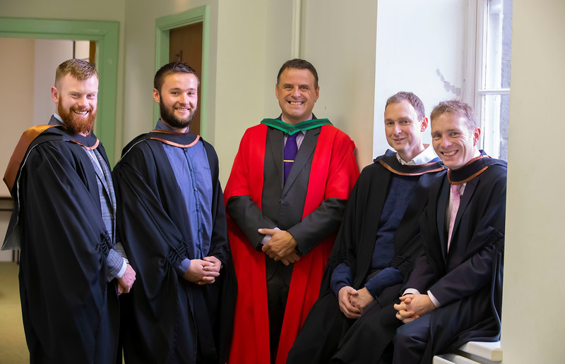 01/11/2019. Waterford Institute of Technology (WIT) Conferring Ceremonies. Pictured are James Nash, Tipperary, James Hindley, Mullinahone, Nick McCarthy WIT, Francis Kevey, Carrick on Suir and Patrick Croke, Inistiogue. Picture: Patrick Browne