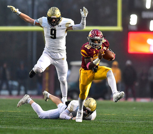 12/14/2019 Mike Orazzi | Staff St. Joseph High School's Jaden Shirden (20) during a 17-13 win over Daniel Hand at Veteran's Stadium in New Britain on Saturday.