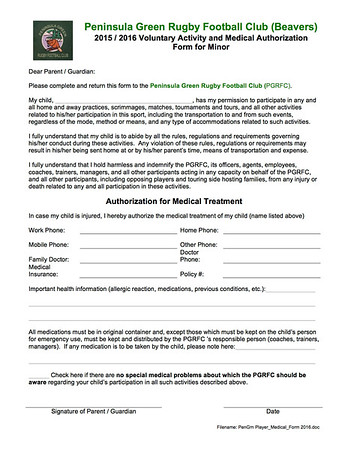 Peninsula Green Rugby Club Documents