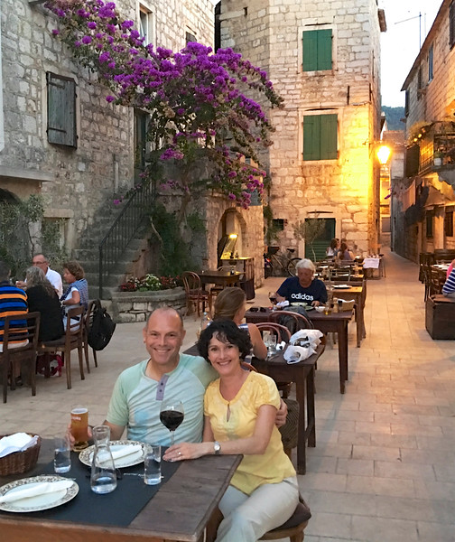 Dinner with ambiance in the tiny town we stayed in on Hvar called Stari Grad