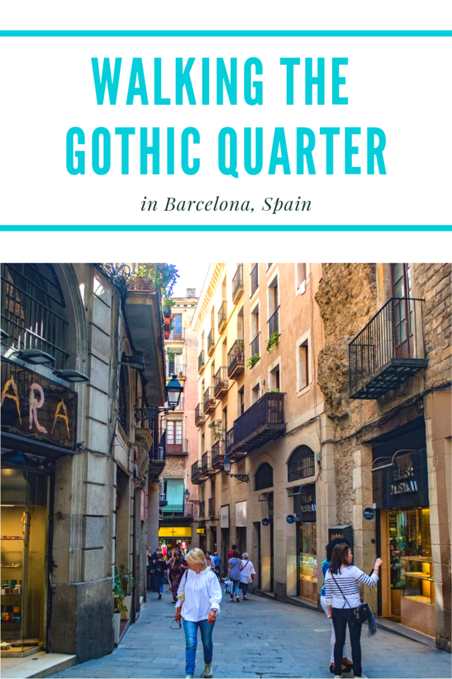 Walking the gothic quarter Barcelona Spain