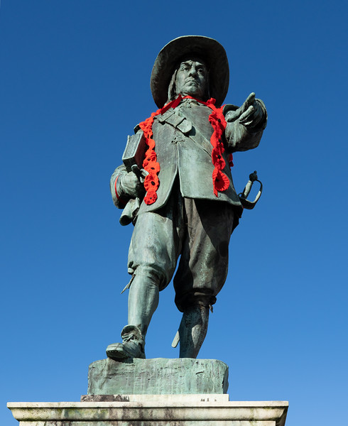 Oliver Cromwell statue in St Ives, Cambridgeshire