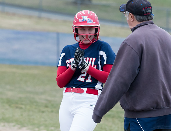 04/02/19 Wesley Bunnell | Staff St. Paul softball defeated Ansonia at home on Tuesday afternoon. Anna Olis (21)