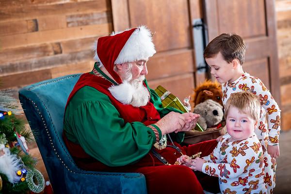 Grayson & Levi with Santa