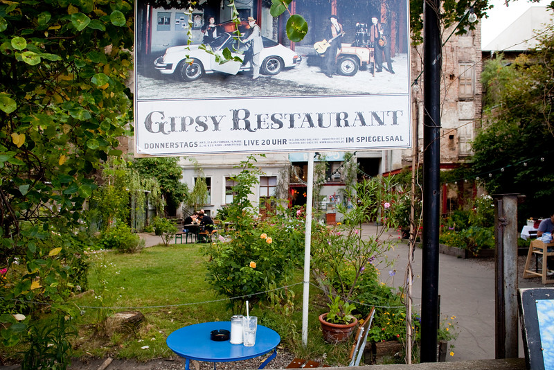 Open air restaurant on Auguststrasse, Berlin, Germany