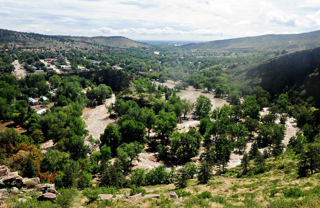 . Flood damage in Lyons, seen from Indian Lookout Road, Friday, Sept. 13, 2013. (Greg Lindstrom/Times-Call)