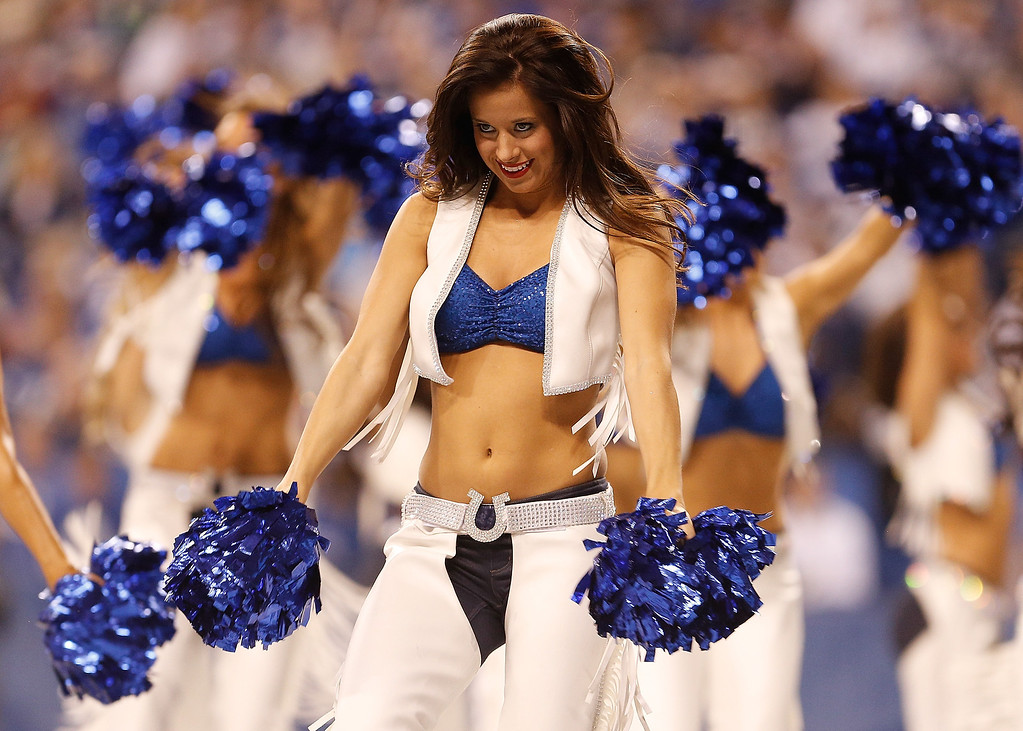 . Members of the Indianapolis Colts Cheerleaders perform during a game against the Jacksonville Jaguars at Lucas Oil Stadium on December 29, 2013 in Indianapolis, Indiana. Indianapolis won the game 30-10. (Photo by Gregory Shamus/Getty Images)
