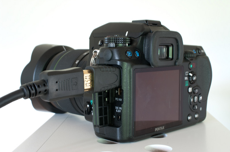 K-7 with HDMI 1.3 Type-C to Type -A adapter and Type-A cable.