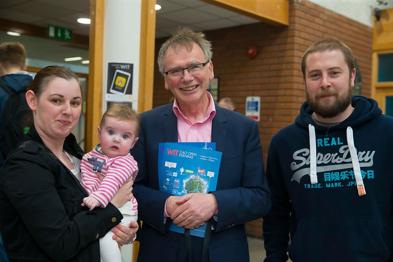 05/04/2016. Waterford Institute of Technology (WIT) CAO Information Evening are Irene Carroll, Caoimhe and Eoin Fitzgerald from Waterford with Prof Willie Donnelly, President WIT. Picture: Patrick Browne  Prospective students travelled from far and wide to the Waterford Institute of Technology (WIT) CAO Information Evening on Tuesday 5 April to hear in detail about the brand new WIT President's Scholarship Programme worth up to €12,000 a year for five students. For September 2016, WIT is offering an exciting new scholarship scheme which encourages and rewards young people who show a capacity to shape a better society. WIT has 70 CAO courses. Details are available at www.wit.ie/caoscholarship